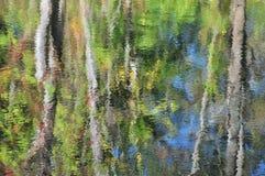 Abstraction : réflexion de feuillage d'arbre d'automne dans l'eau Photos stock