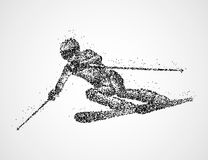 Abstraction skier skiing. Abstract skier of black circles. Vector illustration Royalty Free Stock Photography
