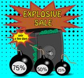 Abstraction on the subject of sale. Safe is a symbol of cashback, and bombs are a symbol of discounts Stock Photo