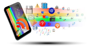 Abstraction of the tablet and icons. Abstraction which depicts a tablet from which emerge a number of different web icons Stock Photos