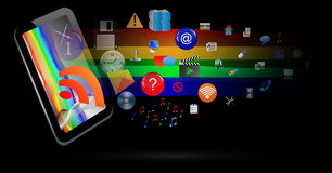 Abstraction of the tablet and icons. Abstraction which depicts a tablet from which emerge a number of different web icons Royalty Free Stock Photography
