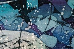 Abstraction, turquoise and violet, hot batik, background texture, handmade on silk. Abstract surrealism art stock illustration