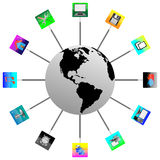 2 The Earth and icons 05.04.13 Royalty Free Stock Image
