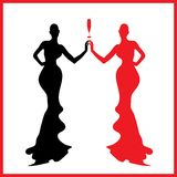 Abstraction WOMAN Silhouette Black And Red Glass Royalty Free Stock Photos