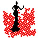 Abstraction WOMAN silhouette black and red glass Stock Photo