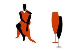 Abstraction WOMAN silhouette black and red glass Stock Image