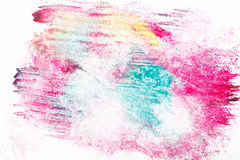 Abstractionism, art painting, mix of blurred color. Abstract painting, modern creative art, abstractionism. Mix of magenta, cyan and yellow blurred colors on Stock Image