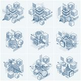 Abstractions isométriques avec des lignes et de différents éléments, vecteur Photos stock