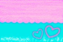 Abstracto alise el fondo azul y rosado de la falta de definición con el corazón Fotos de archivo