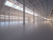 Abstracto vacie el interior de Warehouse Fotografía de archivo libre de regalías