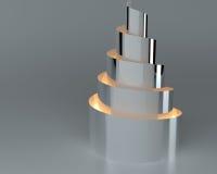 Abstracto vacie el objeto arquitectónico brillante ligero iluminado, representación 3d ilustración del vector