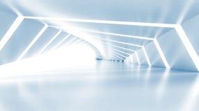 Abstracto vacie el pasillo brillante azul claro iluminado, 3d Imágenes de archivo libres de regalías