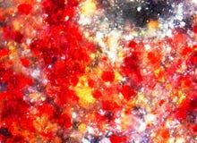 Abstrahujący tło z czerwieni, koloru żółtego i bielu punktami, zdjęcie royalty free