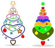 Abstraia a árvore colorida da massa de x com coração do amor ilustração do vetor