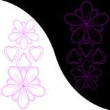 Abstraia flores e corações Foto de Stock Royalty Free