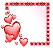 Abstraia o frame com corações lustrosos Fotos de Stock