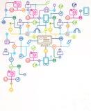 Abstraia o fundo com ícones sociais dos media ilustração stock