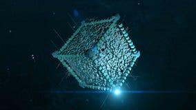 abstraia o fundo Cubo do voo no espaço ilustração stock