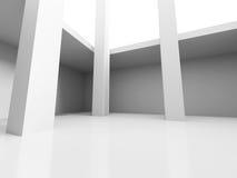 Abstraia o fundo da arquitetura Esvazie o interior do quarto branco Imagens de Stock Royalty Free
