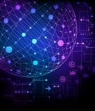 abstraia o fundo esfera 3d com os vários elemen tecnologicos Foto de Stock Royalty Free