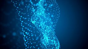 abstraia o fundo Partículas claras azuis no movimento orgânico vídeos de arquivo