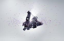 abstraia o fundo Partículas no espaço com triângulo quebrado Imagem de Stock Royalty Free