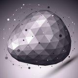 Abstraia o objeto monocromático deformado do vetor com linhas assimétricas Fotos de Stock Royalty Free