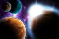 Abstraia o planeta com o alargamento do sol no espaço profundo Imagens de Stock Royalty Free