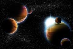 Abstraia o planeta com o alargamento do sol no espaço profundo Fotos de Stock