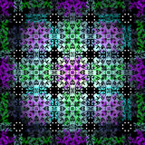 ?????? abstraia objetos coloridos contra um teste padrão sem emenda backlit fundo do vetor Foto de Stock