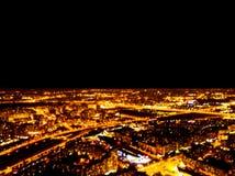 Abstraia a opinião aérea borrada da noite do fundo de uma cidade grande Bokeh do panorama da arquitetura da cidade na noite Vista fotografia de stock