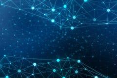 Abstraia a rede de comunicação conectada dos pontos no fundo azul fotos de stock royalty free