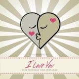 Abstraia um coração de duas faces, símbolo do amor ilustração stock