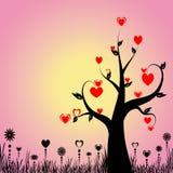 Abstraiga el árbol con los corazones y floral ilustración del vector