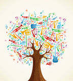 Abstraiga el árbol musical hecho con los instrumentos ilustración del vector