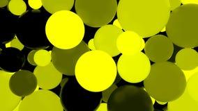 abstraiga el fondo Bolas luminosas amarillas fluorescentes Partidos del tema Fotografía de archivo