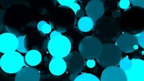 abstraiga el fondo Bolas luminosas azules fluorescentes Partidos del tema stock de ilustración