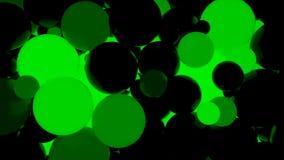 abstraiga el fondo Bolas luminosas verdes fluorescentes Partidos del tema Foto de archivo libre de regalías