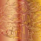 abstraiga el fondo tarjeta electrónica Oro y bronce Fotografía de archivo