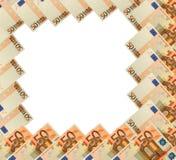 Abstraiga el marco del billete de banco del euro 50 en blanco Imagen de archivo libre de regalías