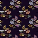 Abstraiga el ornamento Ilustraci?n colorida Dibujo de la acuarela de las hojas de diversos colores Hojas y ramas para el dise?o stock de ilustración