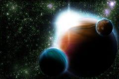 Abstraiga el planeta con la flama del sol en espacio profundo Foto de archivo libre de regalías