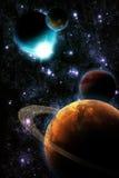 Abstraiga el planeta con la flama del sol en espacio profundo stock de ilustración