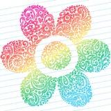 Abstraiga los Doodles incompletos del cuaderno de la flor Fotos de archivo