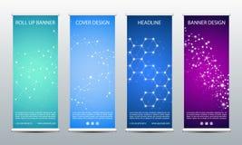 Abstrait enroulez la bannière pour la présentation et la publication Calibre de la Science, de technologie et d'affaires Structur Photos libres de droits