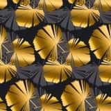 Or abstrait et modèle sans couture tropical de feuilles de noir Photo libre de droits