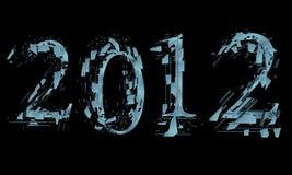 Abstrait splitted marquant avec des lettres 2012 sur le noir Photographie stock libre de droits