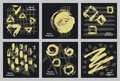 Abstraits tirés par la main sèchent des textures de courses d'encre et de marqueur de peinture de brosse illustration de vecteur