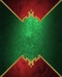 Abstrakci czerwieni rama na zielonej teksturze Element dla projekta Szablon dla projekta odbitkowa przestrzeń dla reklamy broszur Fotografia Stock