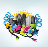 abstrakci miasta clorful przyjęcie ilustracji